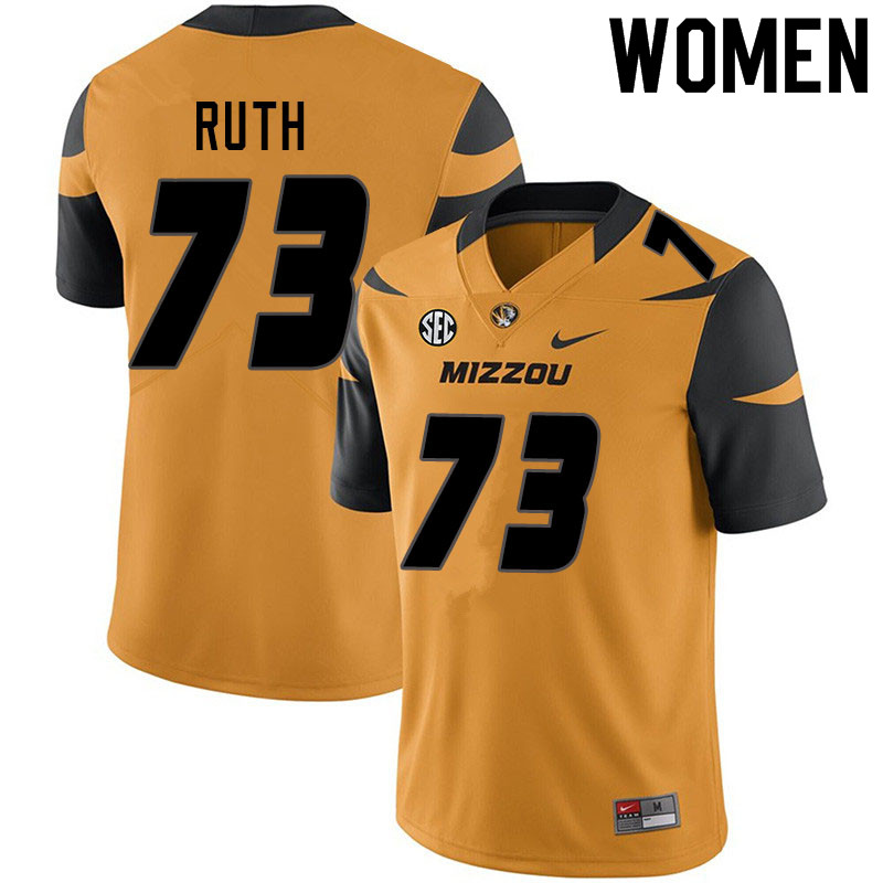 Women #73 Mike Ruth Missouri Tigers College Football Jerseys Sale-Yellow