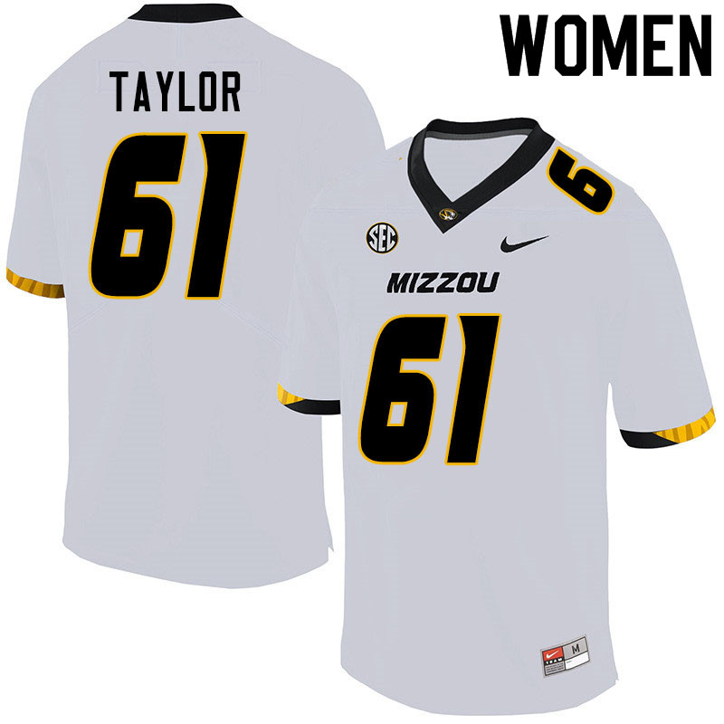 Women #61 Richard Taylor Missouri Tigers College Football Jerseys Sale-White