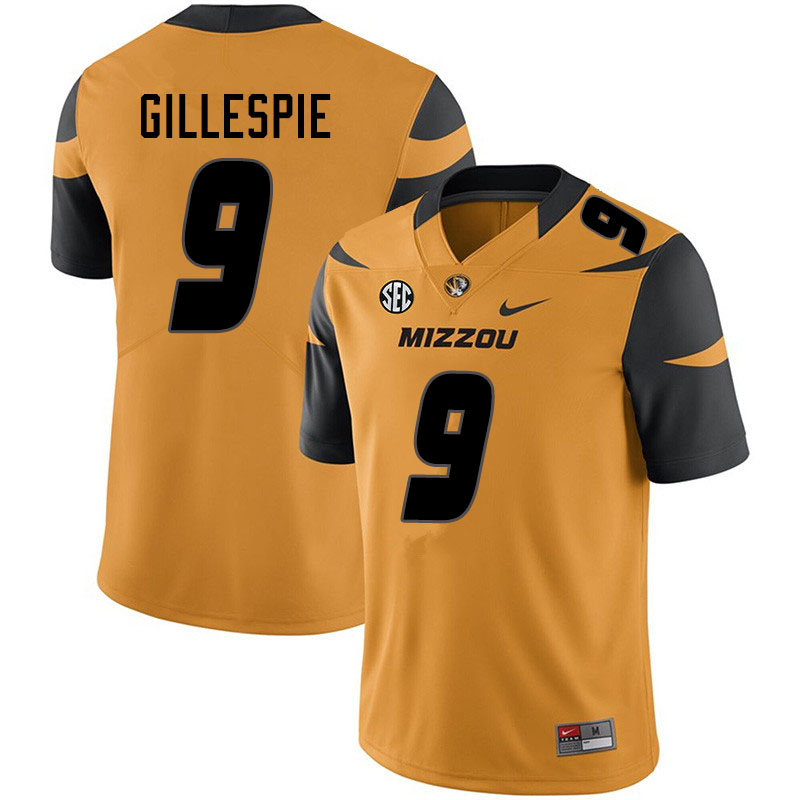 Women #9 Tyree Gillespie Missouri Tigers College Football Jerseys Sale-Yellow