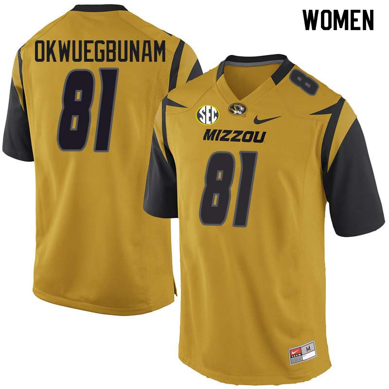Women #81 Albert Okwuegbunam Missouri Tigers College Football Jerseys Sale-Yellow