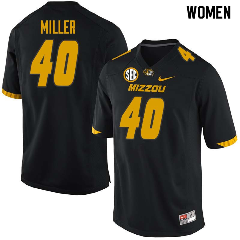Women #40 Aubrey Miller Missouri Tigers College Football Jerseys Sale-Black