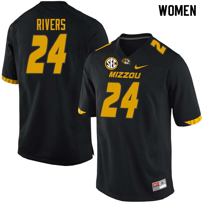 Women #24 Cameren Rivers Missouri Tigers College Football Jerseys Sale-Black