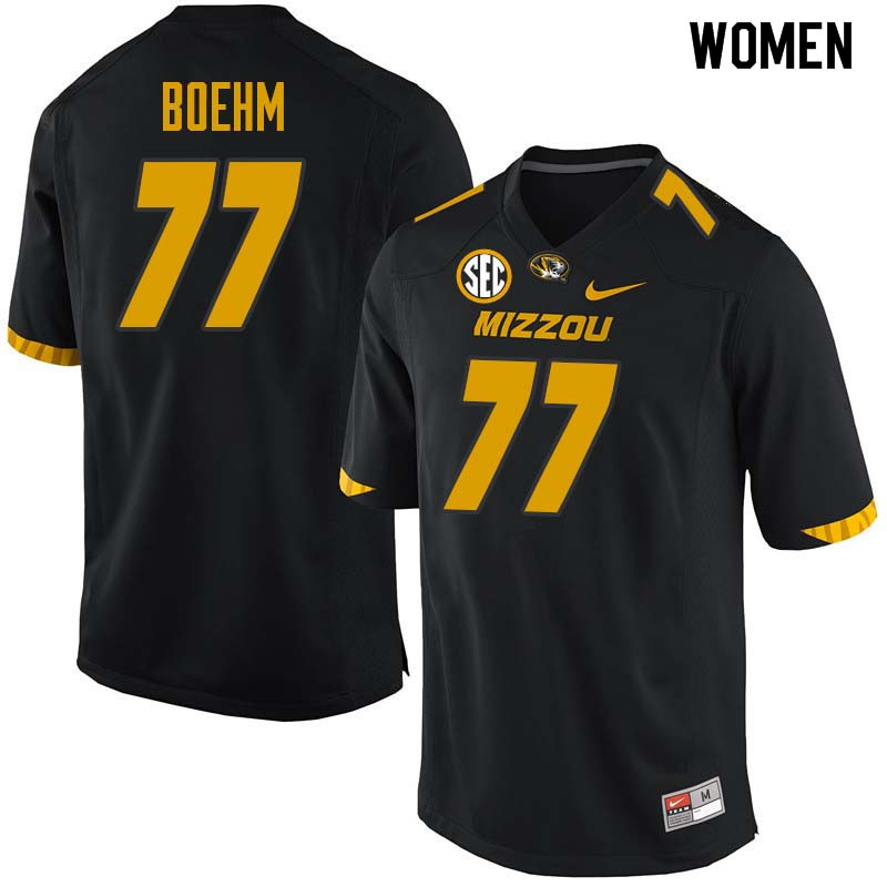 Women #77 Evan Boehm Missouri Tigers College Football Jerseys Sale-Black
