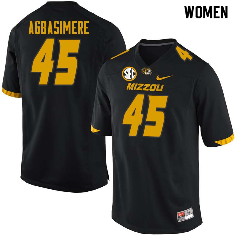 Women #45 Franklin Agbasimere Missouri Tigers College Football Jerseys Sale-Black