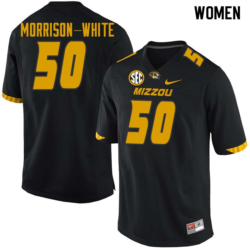Women #50 Hyrin Morrison-White Missouri Tigers College Football Jerseys Sale-Black