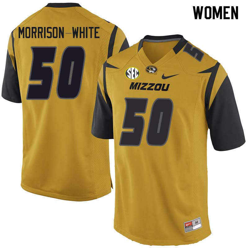 Women #50 Hyrin Morrison-White Missouri Tigers College Football Jerseys Sale-Yellow