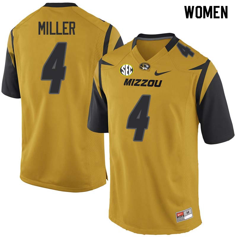 Women #4 Isaiah Miller Missouri Tigers College Football Jerseys Sale-Yellow