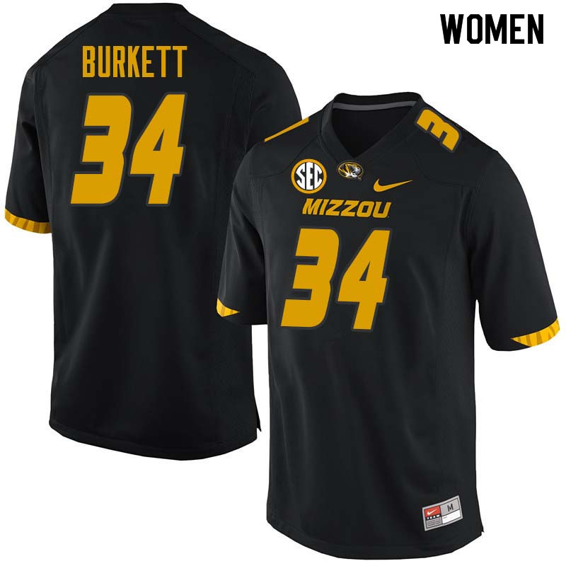 Women #34 Joey Burkett Missouri Tigers College Football Jerseys Sale-Black