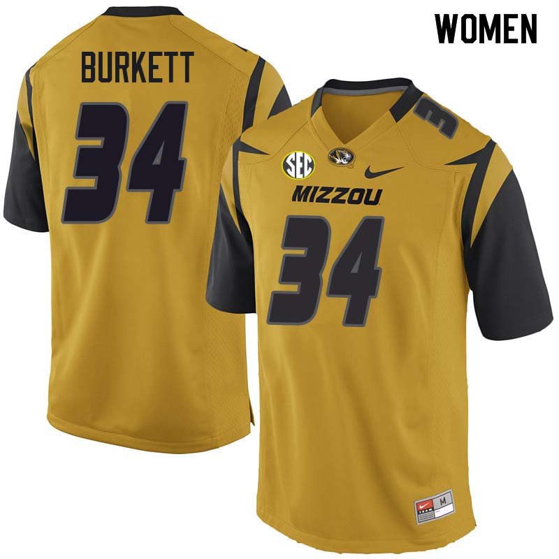Women #34 Joey Burkett Missouri Tigers College Football Jerseys Sale-Yellow
