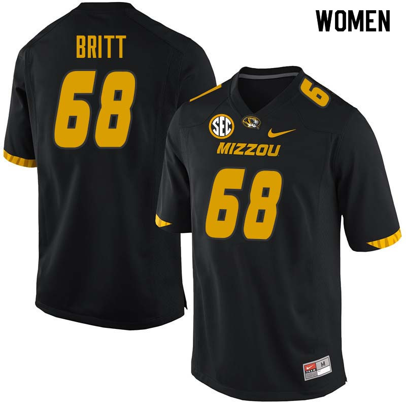 Women #68 Justin Britt Missouri Tigers College Football Jerseys Sale-Black