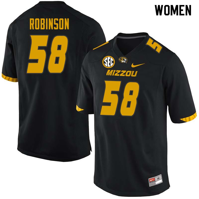 Women #58 Noah Robinson Missouri Tigers College Football Jerseys Sale-Black