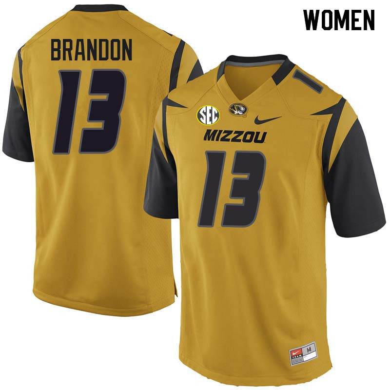 Women #13 Rashad Brandon Missouri Tigers College Football Jerseys Sale-Yellow