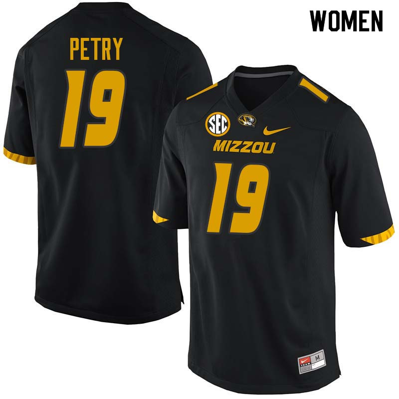 Women #19 Terry Petry Missouri Tigers College Football Jerseys Sale-Black