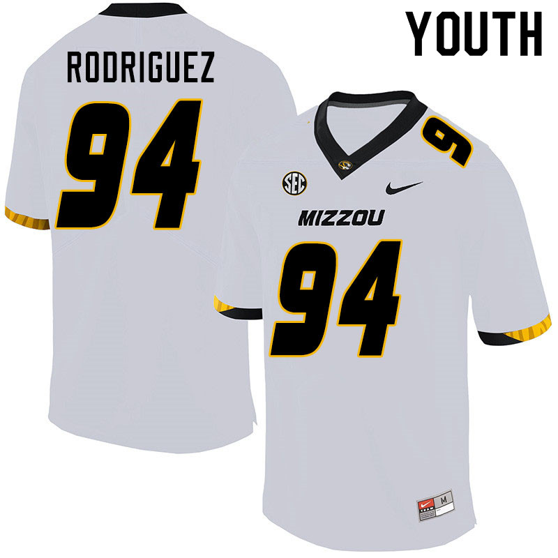 Youth #94 Aaron Rodriguez Missouri Tigers College Football Jerseys Sale-White