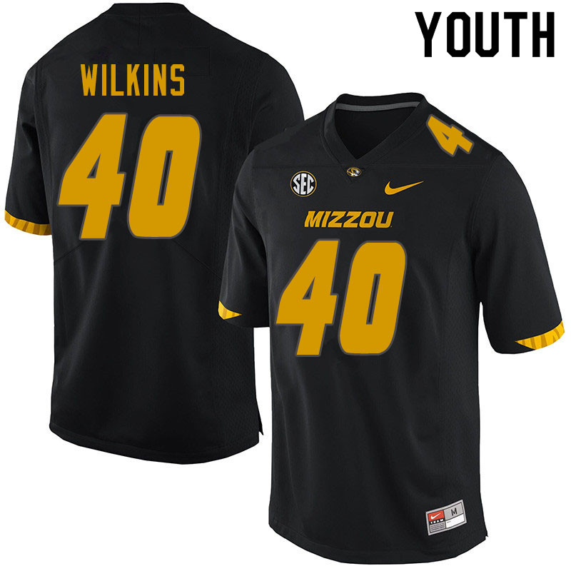 Youth #40 Cameron Wilkins Missouri Tigers College Football Jerseys Sale-Black