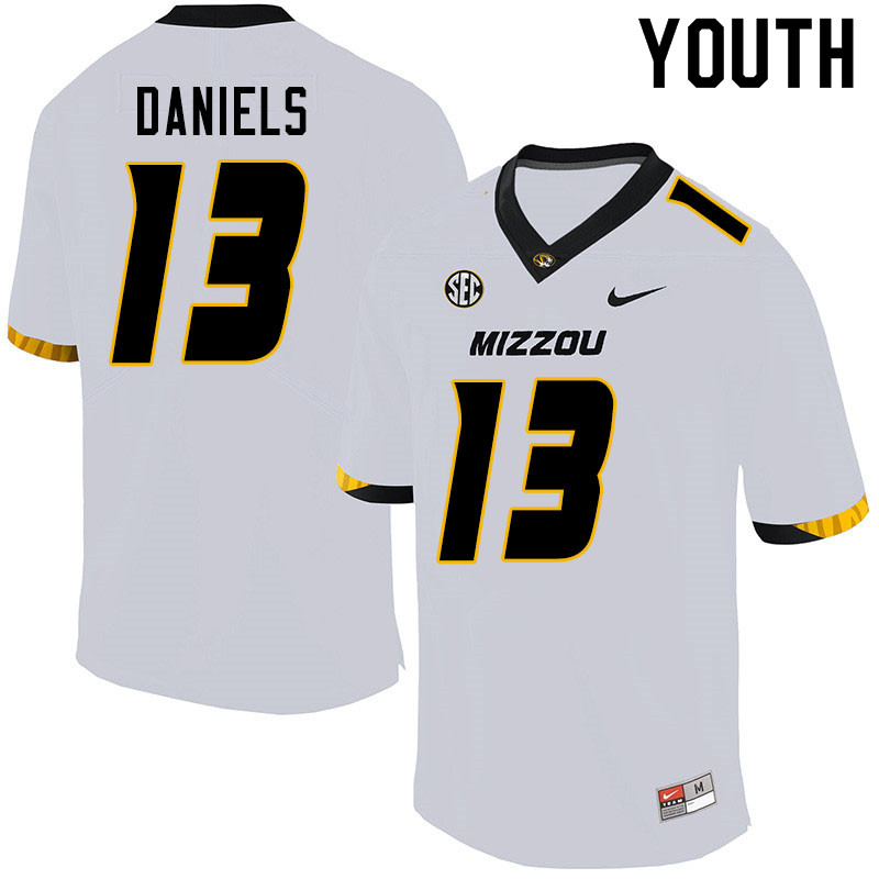 Youth #13 Chris Daniels Missouri Tigers College Football Jerseys Sale-White