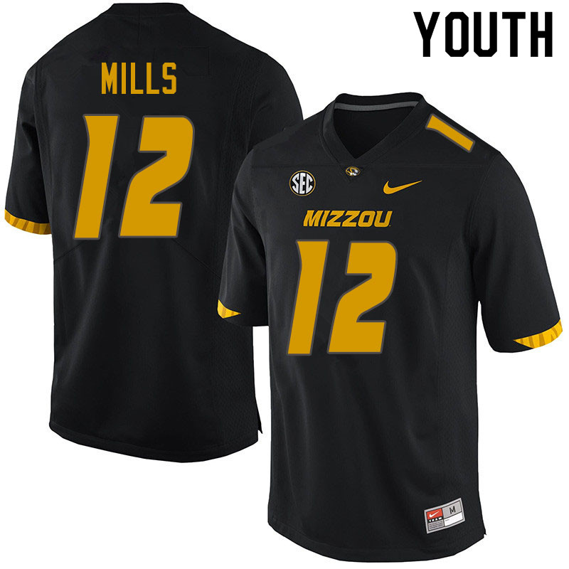 Youth #12 Chris Mills Missouri Tigers College Football Jerseys Sale-Black