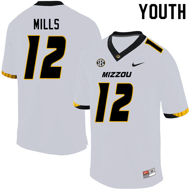 Youth #12 Chris Mills Missouri Tigers College Football Jerseys Sale-White