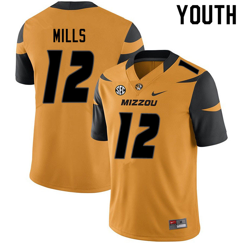 Youth #12 Chris Mills Missouri Tigers College Football Jerseys Sale-Yellow