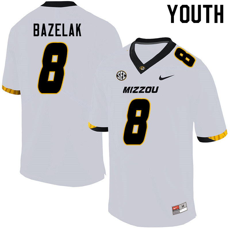 Youth #8 Connor Bazelak Missouri Tigers College Football Jerseys Sale-White