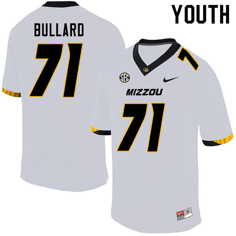 Youth #71 D.J. Bullard Missouri Tigers College Football Jerseys Sale-White