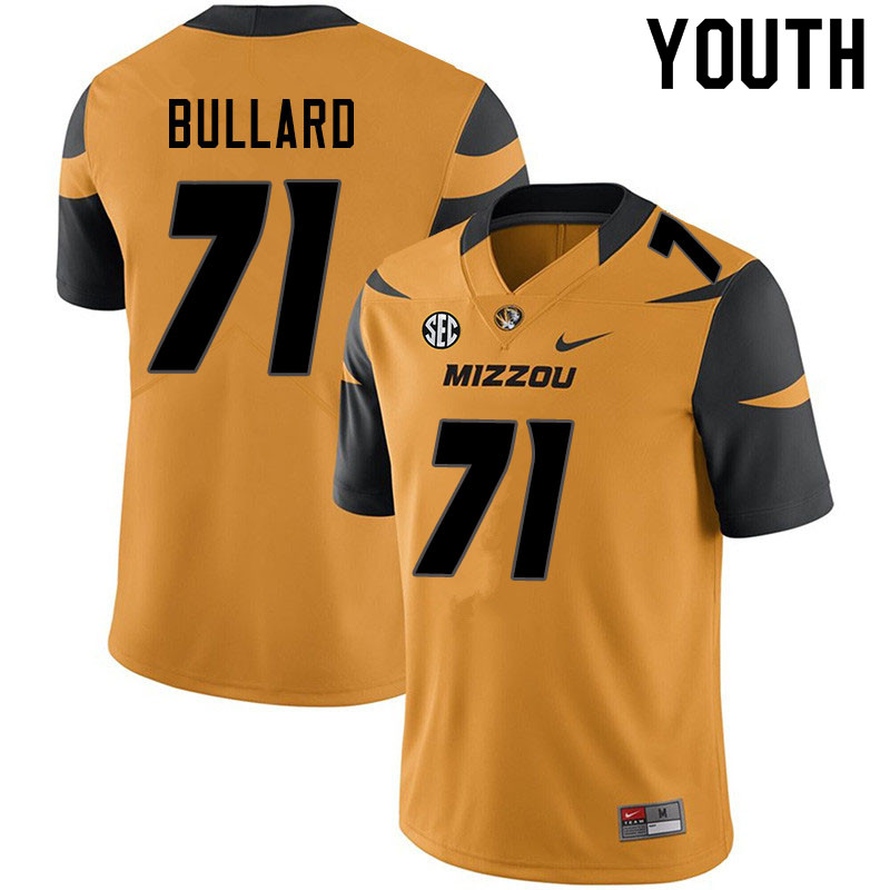 Youth #71 D.J. Bullard Missouri Tigers College Football Jerseys Sale-Yellow