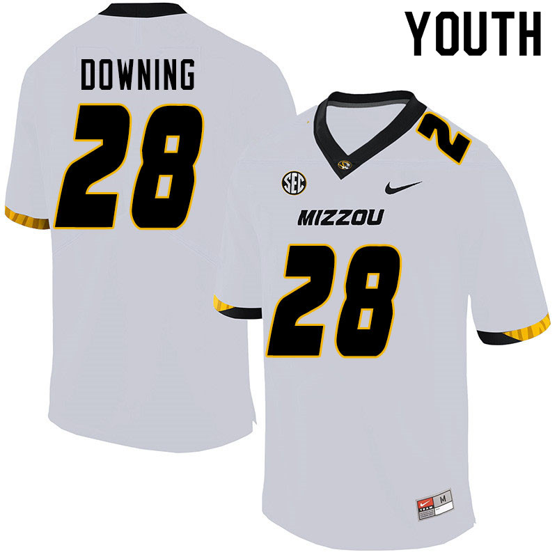 Youth #28 Dawson Downing Missouri Tigers College Football Jerseys Sale-White