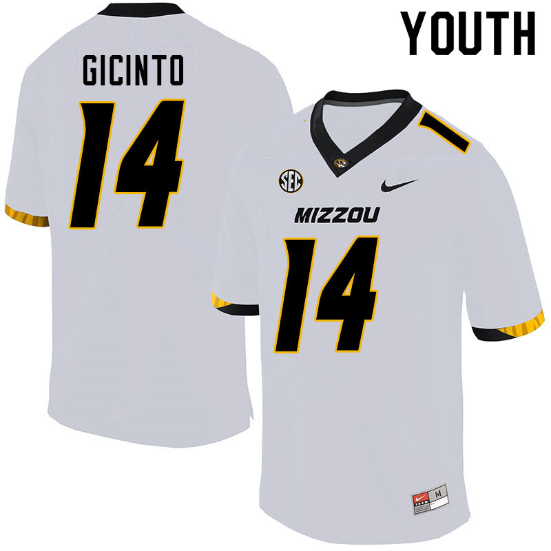 Youth #14 Dominic Gicinto Missouri Tigers College Football Jerseys Sale-White