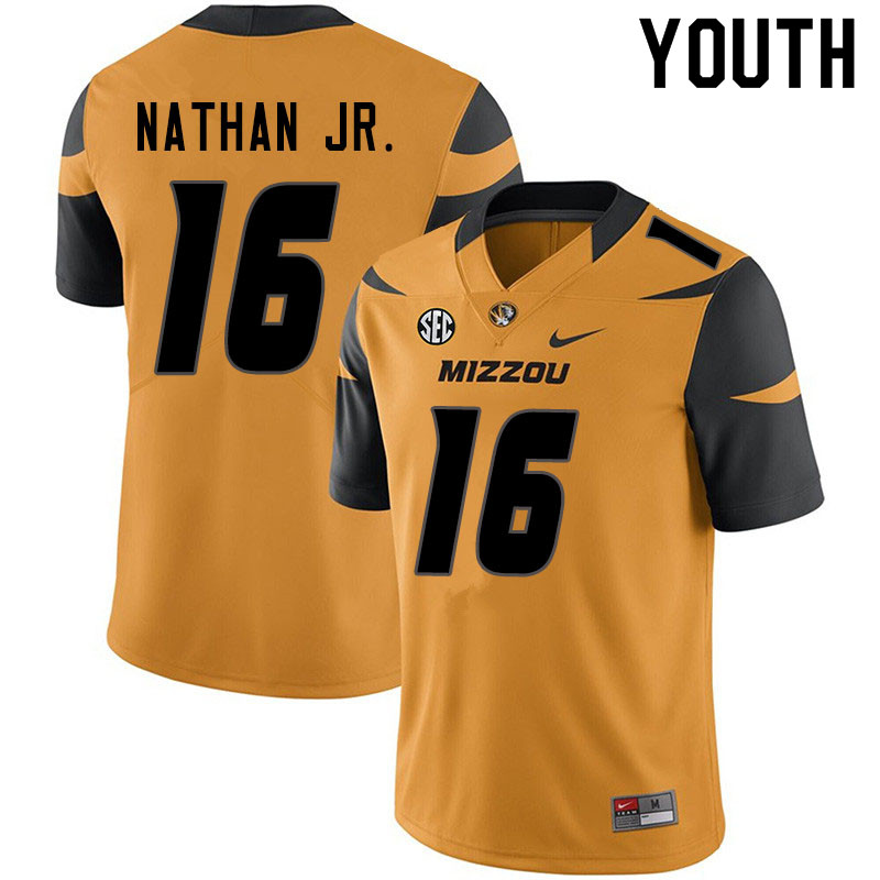Youth #16 Gerald Nathan Jr. Missouri Tigers College Football Jerseys Sale-Yellow