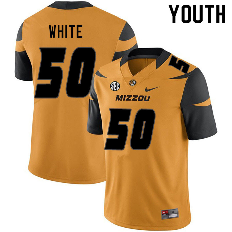 Youth #50 Hyrin White Missouri Tigers College Football Jerseys Sale-Yellow