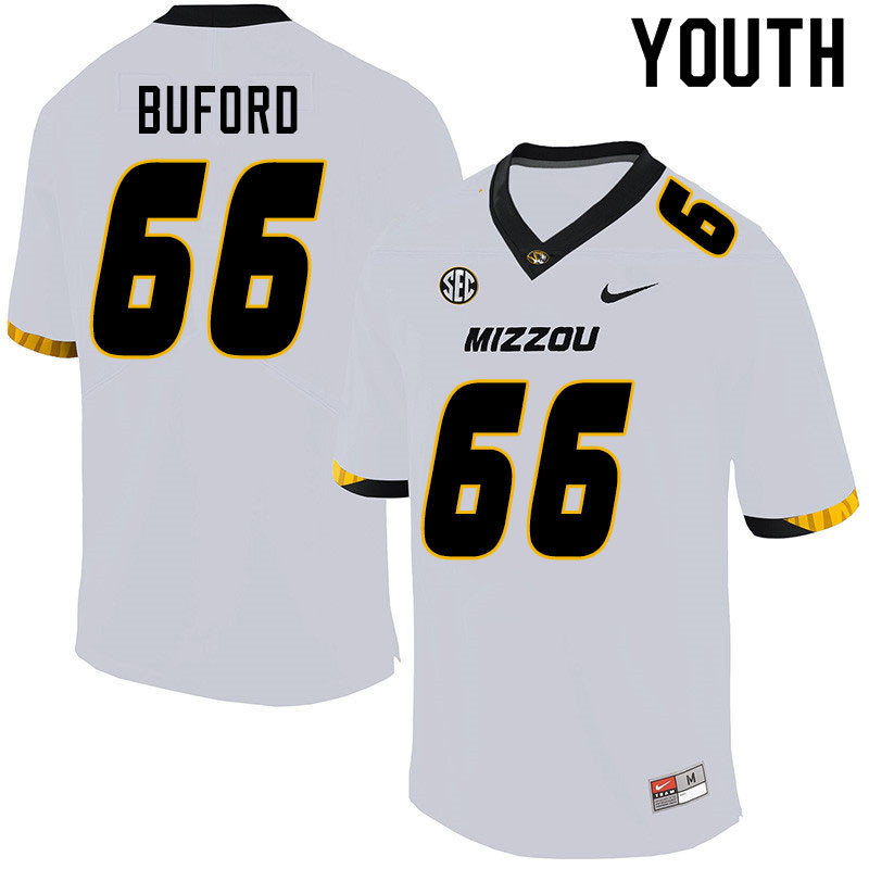Youth #66 Jack Buford Missouri Tigers College Football Jerseys Sale-White