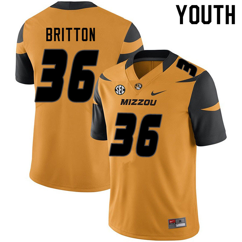Youth #36 Joe Britton Missouri Tigers College Football Jerseys Sale-Yellow
