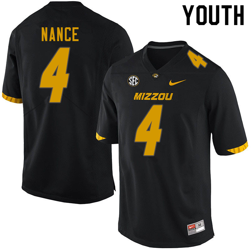 Youth #4 Jonathan Nance Missouri Tigers College Football Jerseys Sale-Black