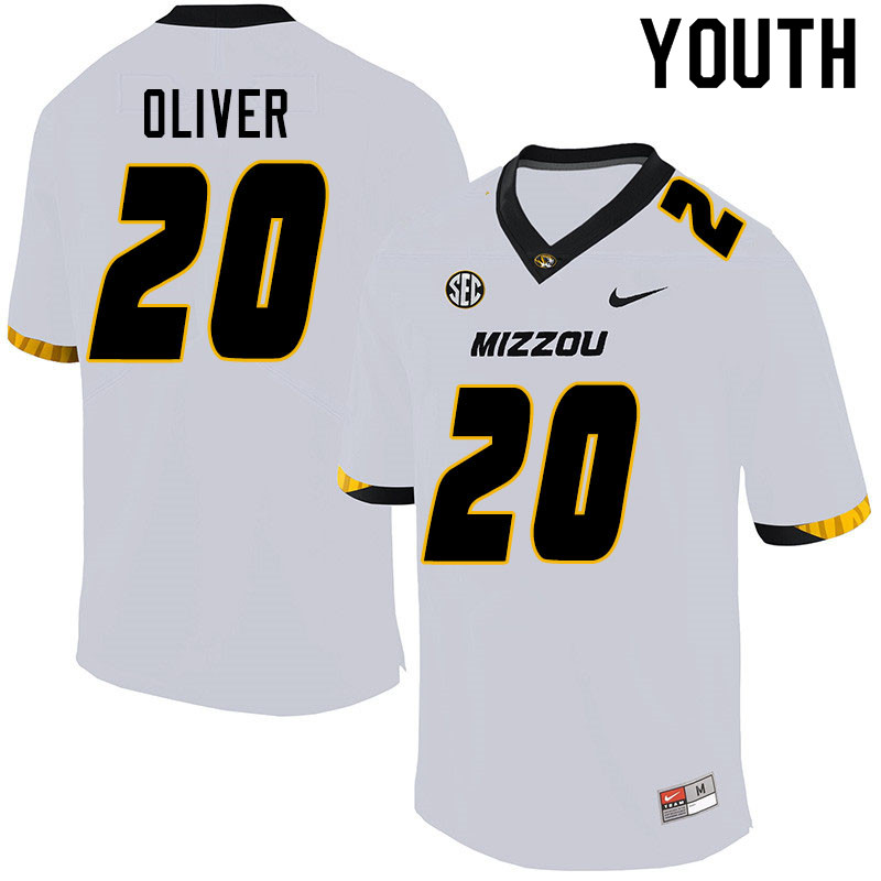 Youth #20 Khalil Oliver Missouri Tigers College Football Jerseys Sale-White