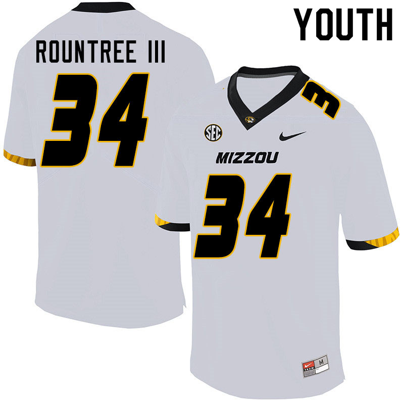 Youth #34 Larry Rountree III Missouri Tigers College Football Jerseys Sale-White