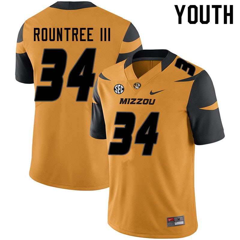 Youth #34 Larry Rountree III Missouri Tigers College Football Jerseys Sale-Yellow