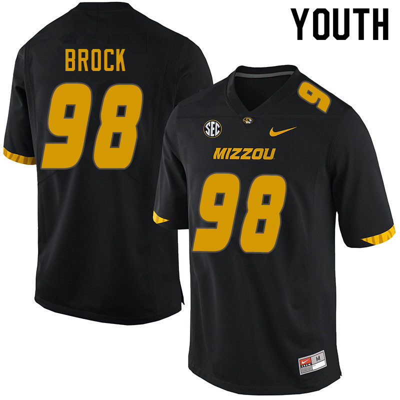 Youth #98 Logan Brock Missouri Tigers College Football Jerseys Sale-Black