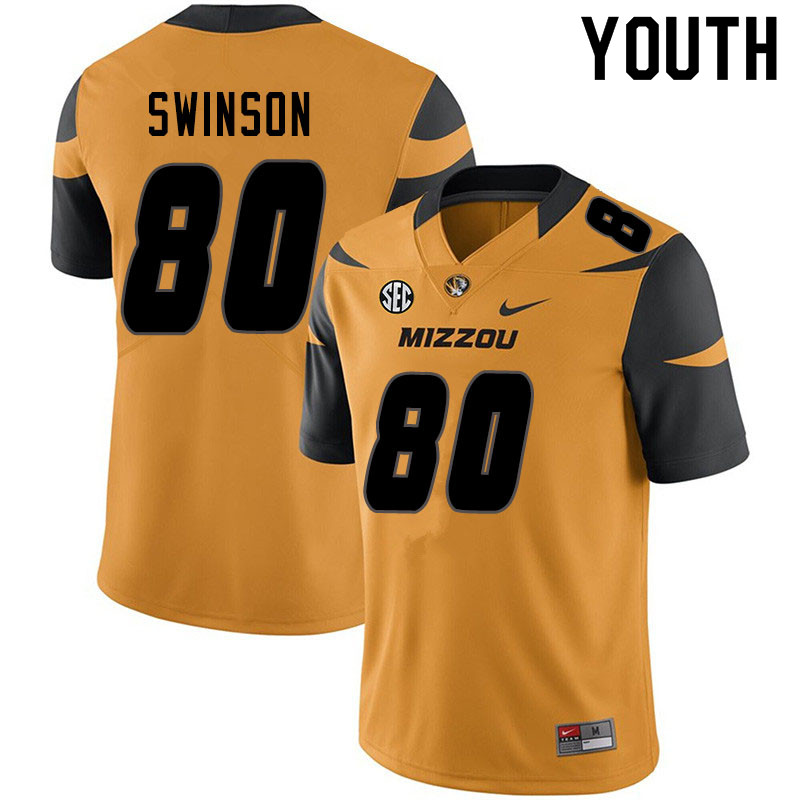 Youth #80 Messiah Swinson Missouri Tigers College Football Jerseys Sale-Yellow