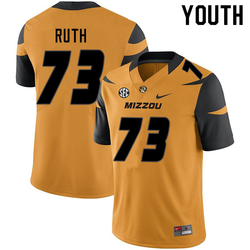 Youth #73 Mike Ruth Missouri Tigers College Football Jerseys Sale-Yellow