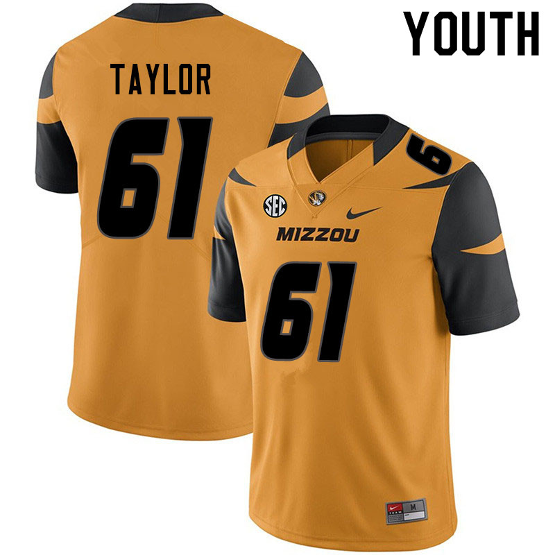 Youth #61 Richard Taylor Missouri Tigers College Football Jerseys Sale-Yellow