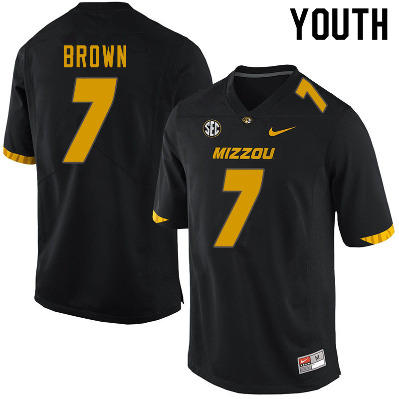 Youth #7 Stacy Brown Missouri Tigers College Football Jerseys Sale-Black