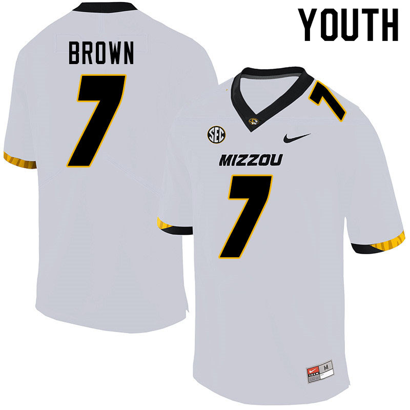 Youth #7 Stacy Brown Missouri Tigers College Football Jerseys Sale-White