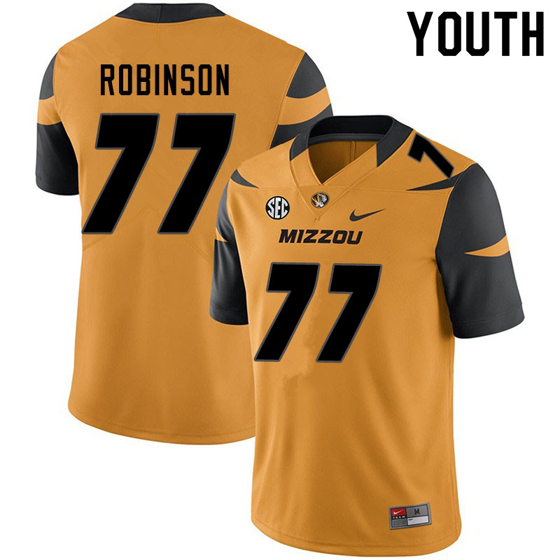 Youth #77 Thalen Robinson Missouri Tigers College Football Jerseys Sale-Yellow
