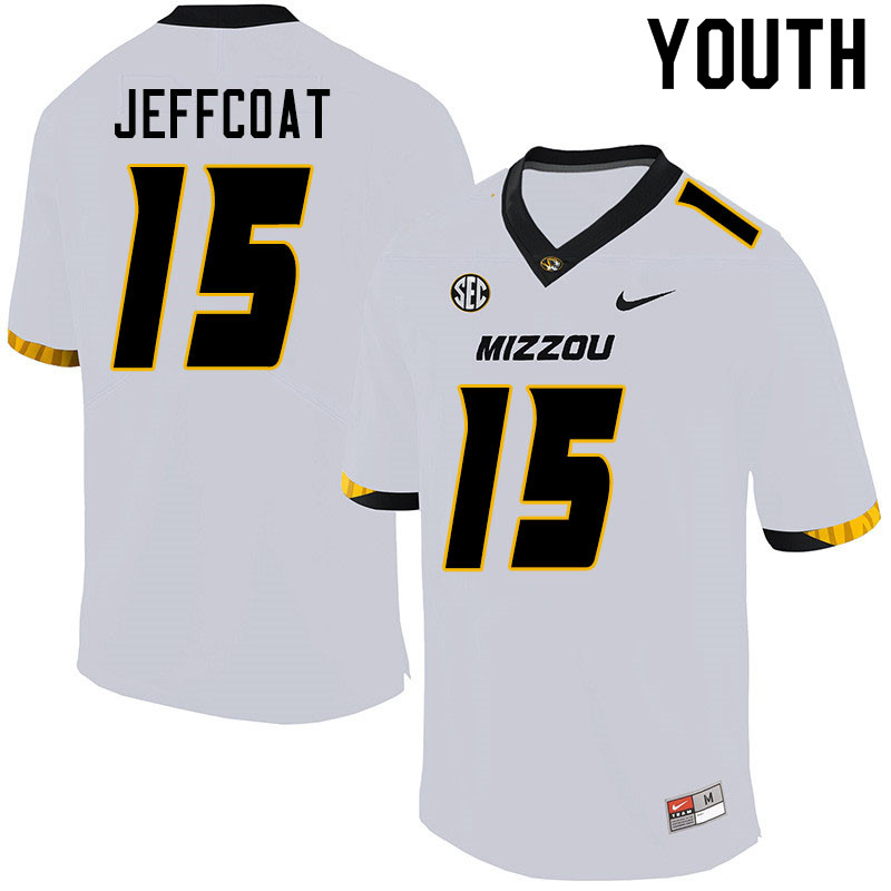 Youth #15 Trajan Jeffcoat Missouri Tigers College Football Jerseys Sale-White