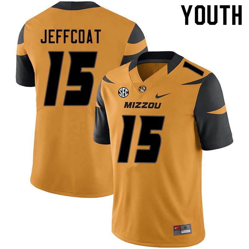 Youth #15 Trajan Jeffcoat Missouri Tigers College Football Jerseys Sale-Yellow