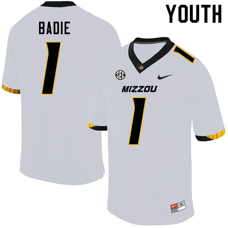Youth #1 Tyler Badie Missouri Tigers College Football Jerseys Sale-White