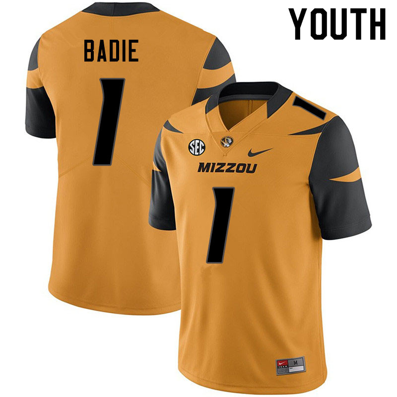 Youth #1 Tyler Badie Missouri Tigers College Football Jerseys Sale-Yellow