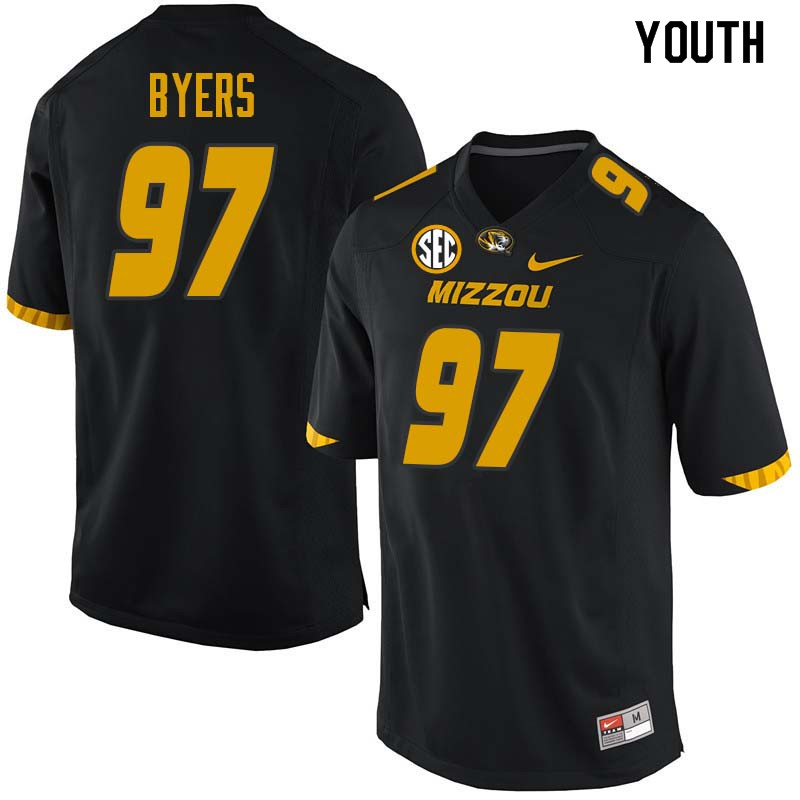 Youth #97 Akial Byers Missouri Tigers College Football Jerseys Sale-Black