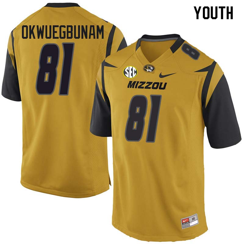 Youth #81 Albert Okwuegbunam Missouri Tigers College Football Jerseys Sale-Yellow