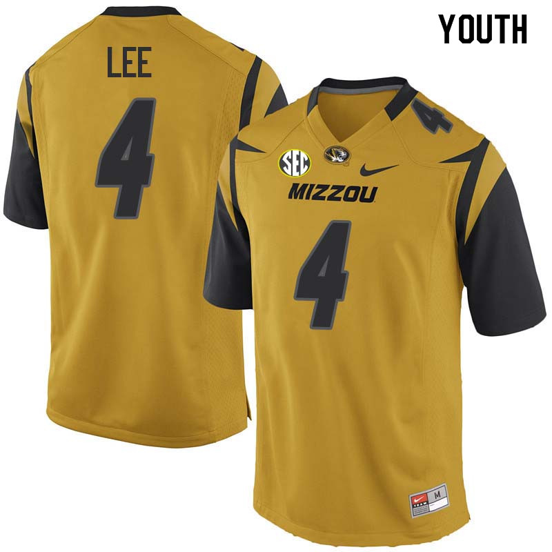 Youth #4 Brandon Lee Missouri Tigers College Football Jerseys Sale-Yellow